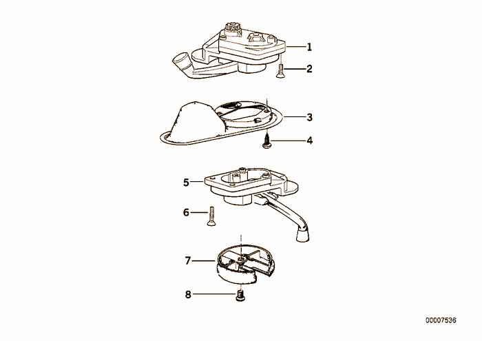 Single parts for sliding lifting roof BMW 316i M43 E36 Sedan, Europe