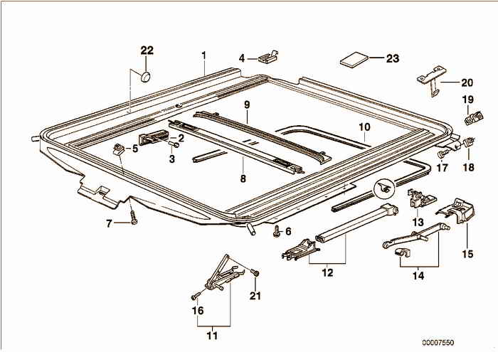 Sliding lifting roof frame BMW M3 S50 E36 Coupe, USA