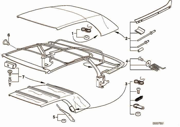 Repair kits convertible top BMW 318i M43 E36 Convertible, Europe