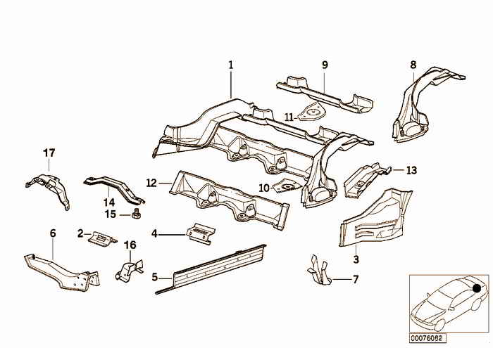 Rear floor parts BMW 328i M52 E36 Convertible, Europe