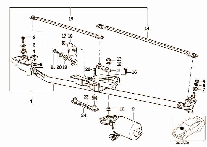 Single wiper parts BMW 318i M43 E36 Convertible, Europe