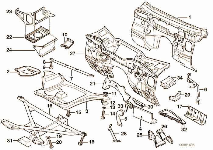 Splash wall parts BMW M3 3.2 S50 E36 Convertible, Europe