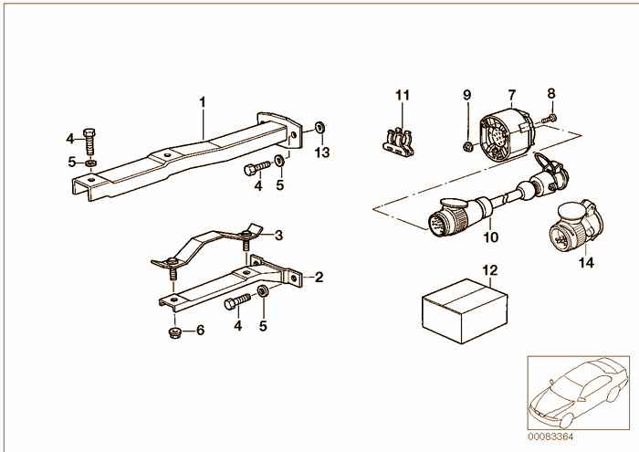 Trailer hitch/electr.attaching parts BMW 316i 1.9 M43 E36 Compact, Europe
