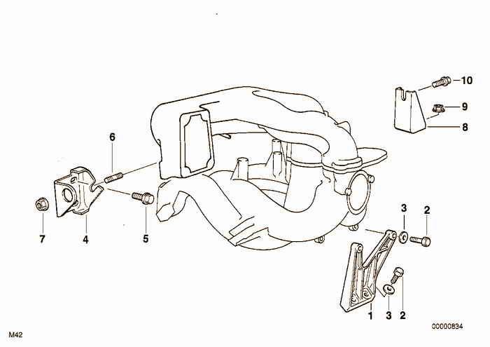 mounting parts f intake manifold system bmw e36 318is m44 coupe BMW M3 Parts Diagram mounting parts f intake manifold system bmw 318is m44 e36 coupe usa