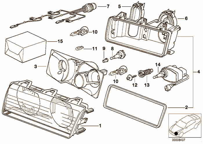 Single components for headlight Bosch BMW M3 S50 E36 Convertible, Europe