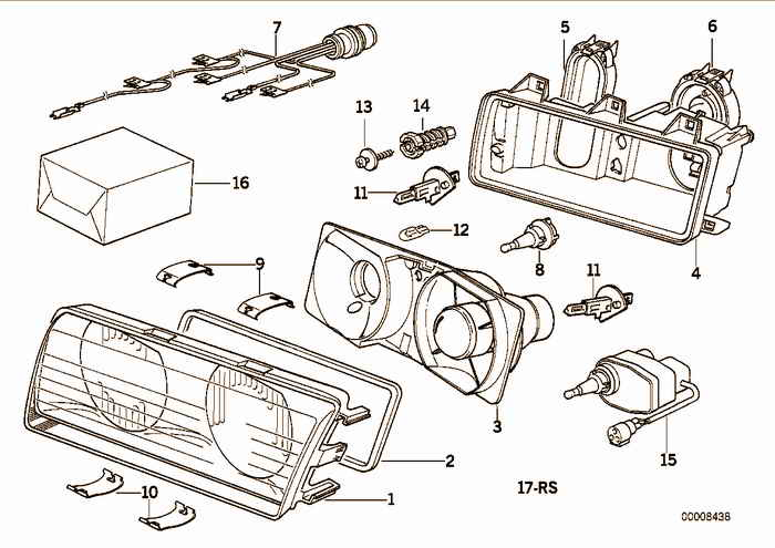 Single components for headlight ZKW BMW M3 S50 E36 Convertible, Europe