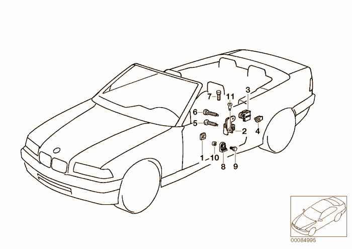 Door window lifting mechanism front BMW 318i M42 E36 Convertible, USA