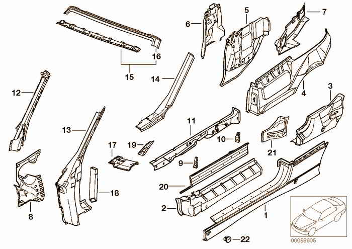 Single components for body-side frame BMW 328i M52 E36 Convertible, Europe
