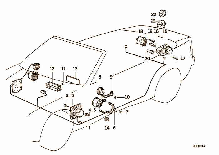Single components hifi system BMW 323i M52 E36 Convertible, USA