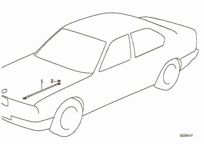 Earth strap for engine hood BMW 323i M52 E36 Convertible, USA