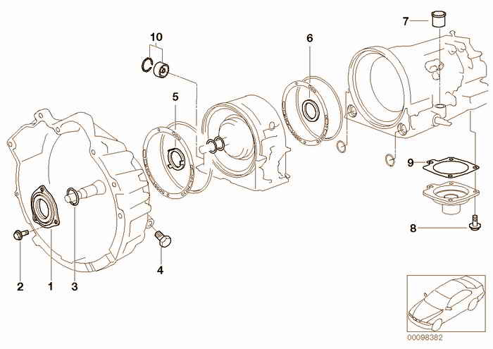 A4S 270R/310R mounting parts/gaskets BMW 318is M44 E36 Coupe, USA