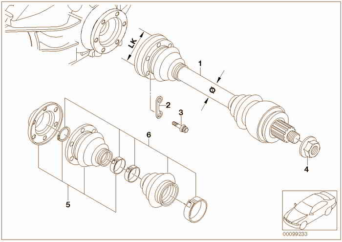 Output shaft BMW 318is M42 E36 Coupe, Europe